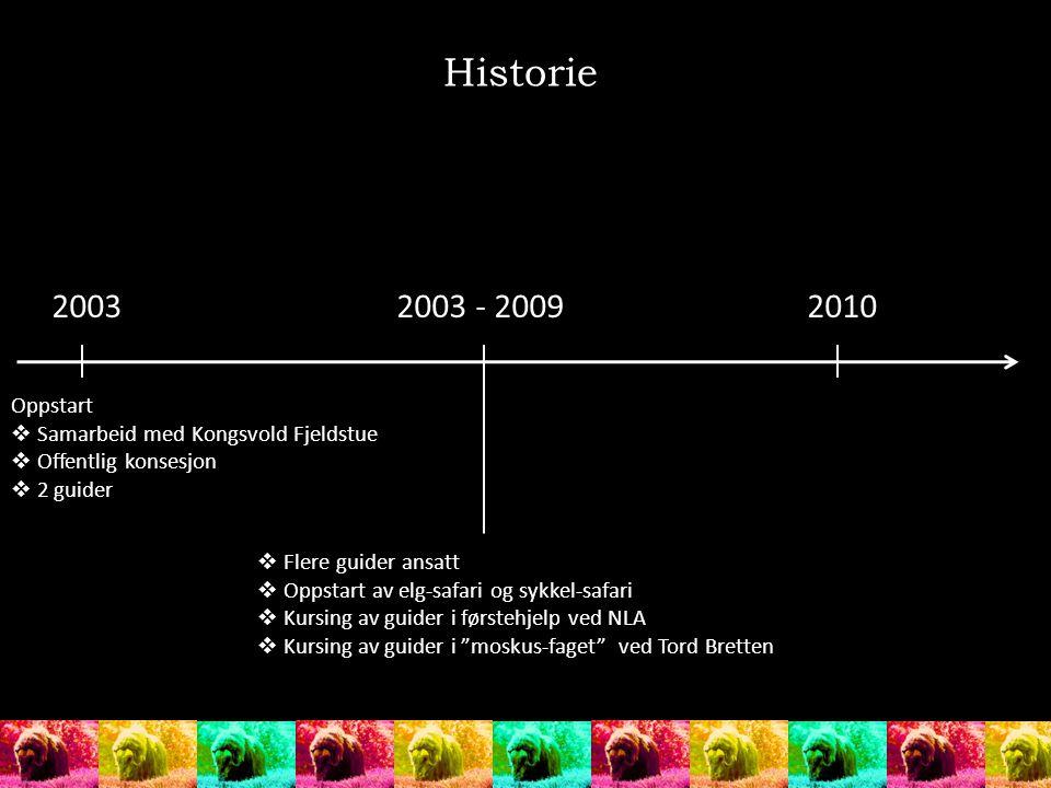 Historie 2003. 2003 - 2009. 2010. Oppstart. Samarbeid med Kongsvold Fjeldstue. Offentlig konsesjon.