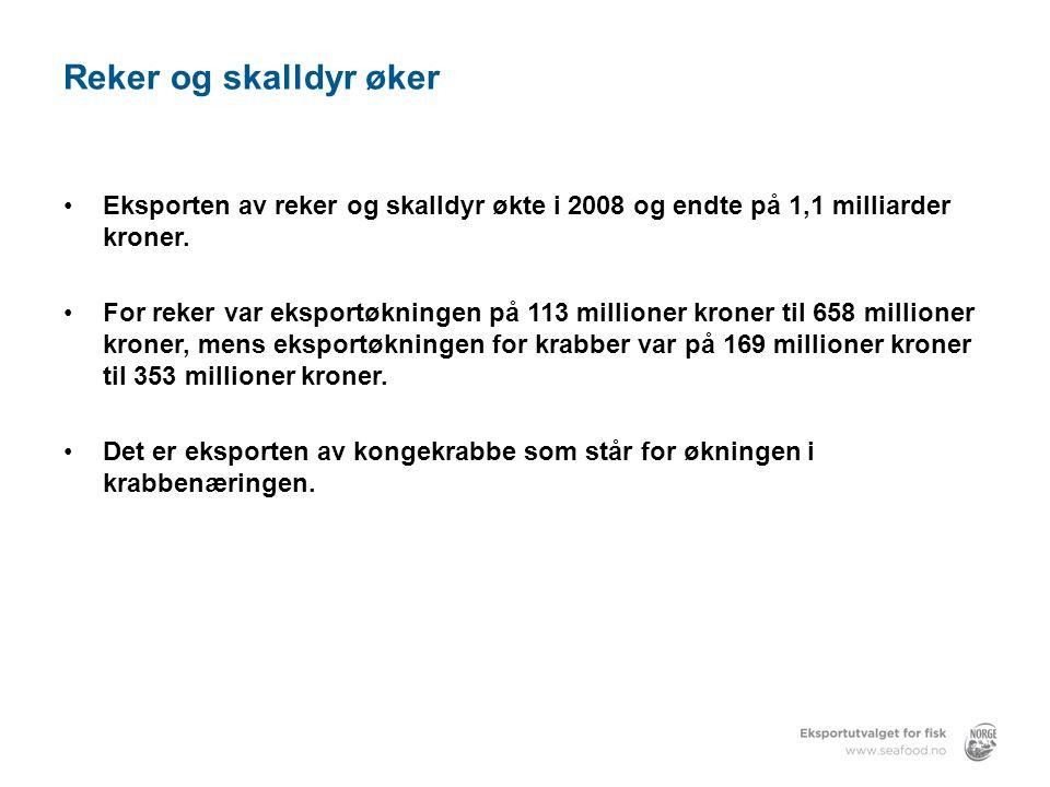 Reker og skalldyr øker Eksporten av reker og skalldyr økte i 2008 og endte på 1,1 milliarder kroner.