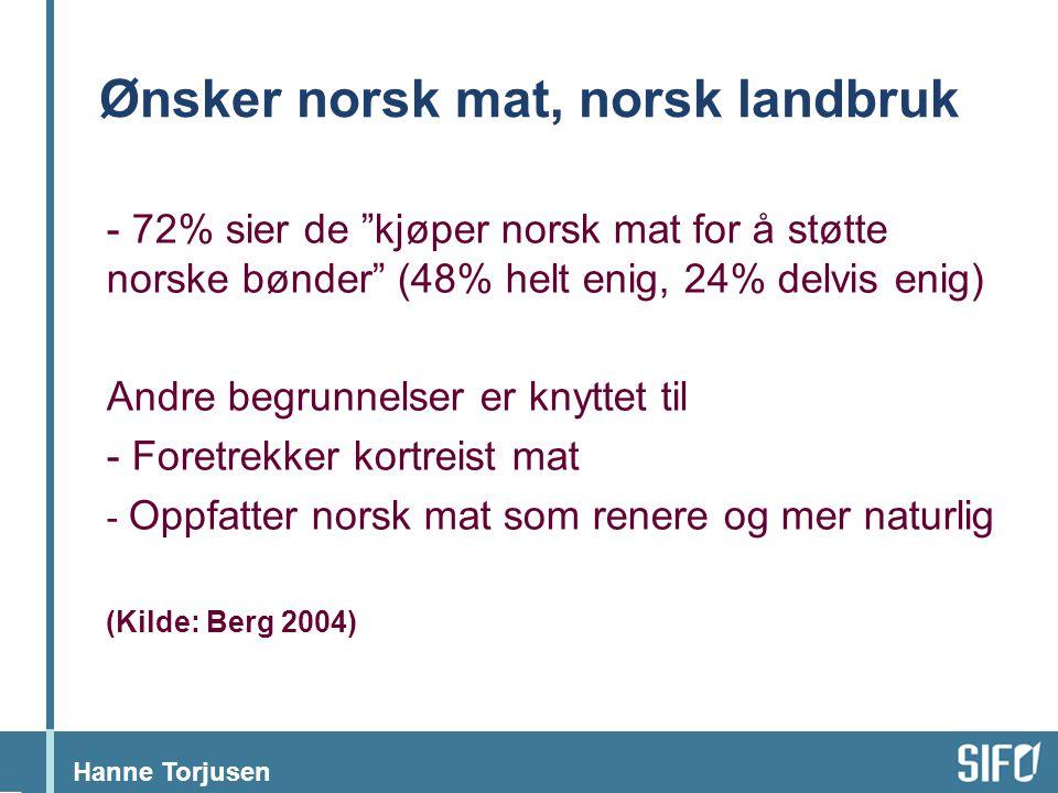 Ønsker norsk mat, norsk landbruk