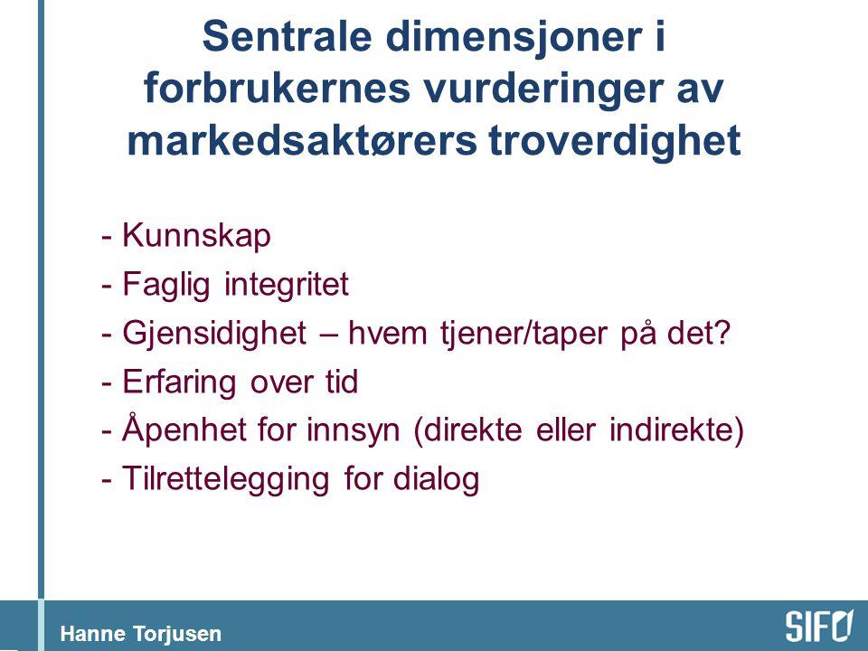Sentrale dimensjoner i forbrukernes vurderinger av markedsaktørers troverdighet