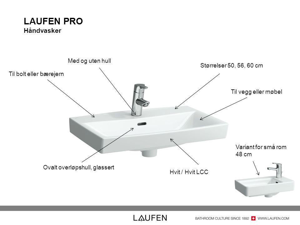 LAUFEN PRO Håndvasker Med og uten hull Størrelser 50, 56, 60 cm