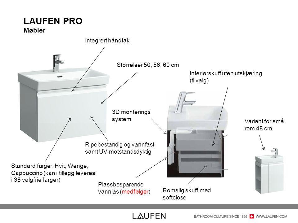 LAUFEN PRO Møbler Integrert håndtak Størrelser 50, 56, 60 cm