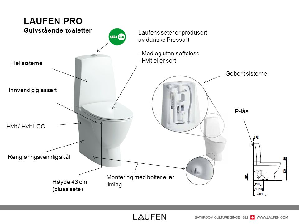 LAUFEN PRO Gulvstående toaletter