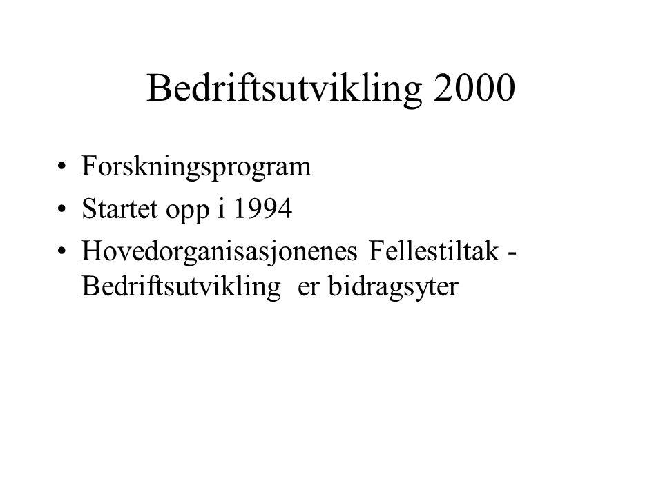 Bedriftsutvikling 2000 Forskningsprogram Startet opp i 1994