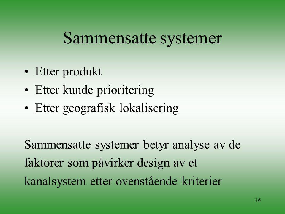 Sammensatte systemer Etter produkt Etter kunde prioritering