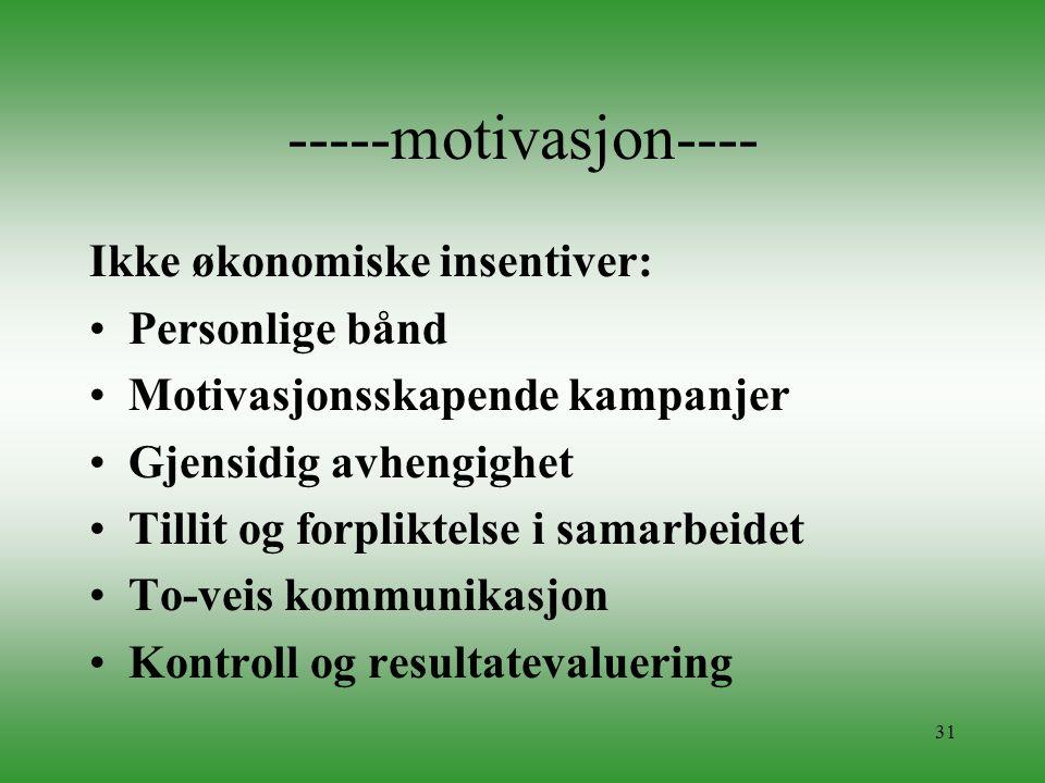 -----motivasjon---- Ikke økonomiske insentiver: Personlige bånd