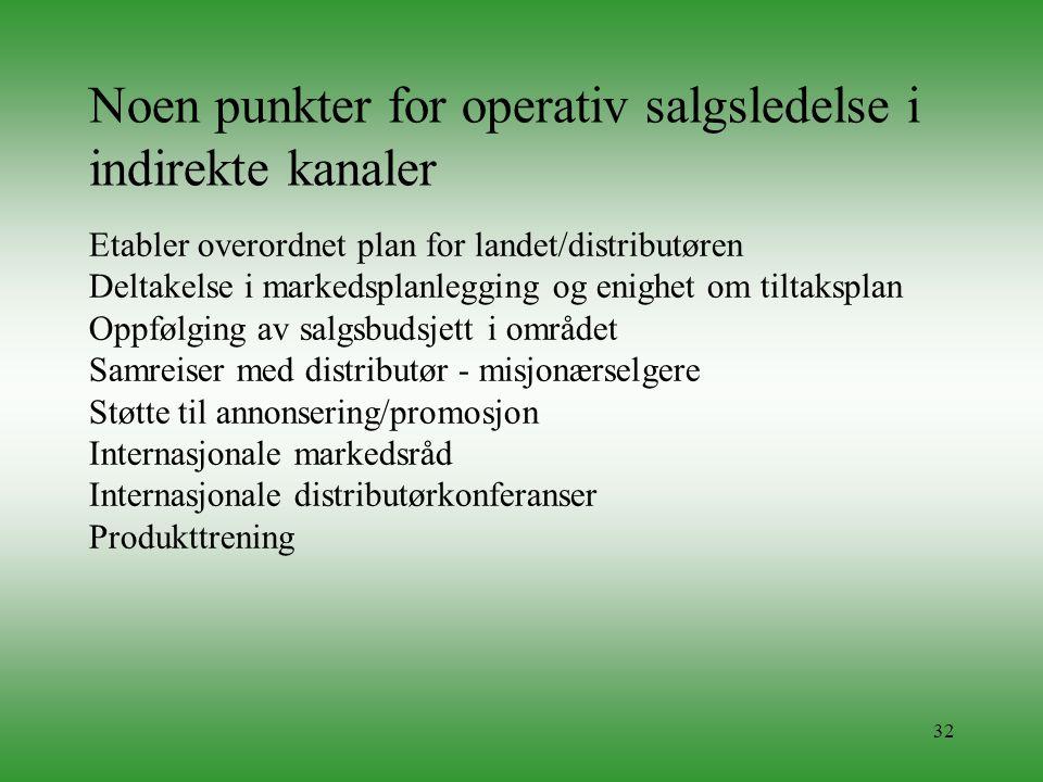 Noen punkter for operativ salgsledelse i indirekte kanaler