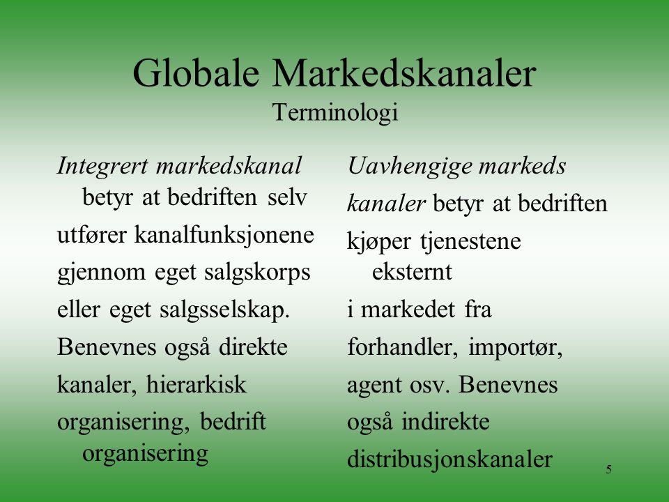 Globale Markedskanaler Terminologi