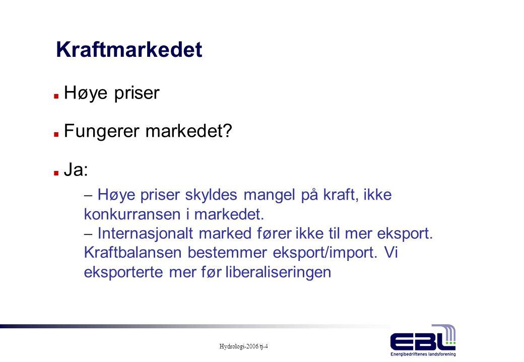 Kraftmarkedet Høye priser Fungerer markedet Ja: