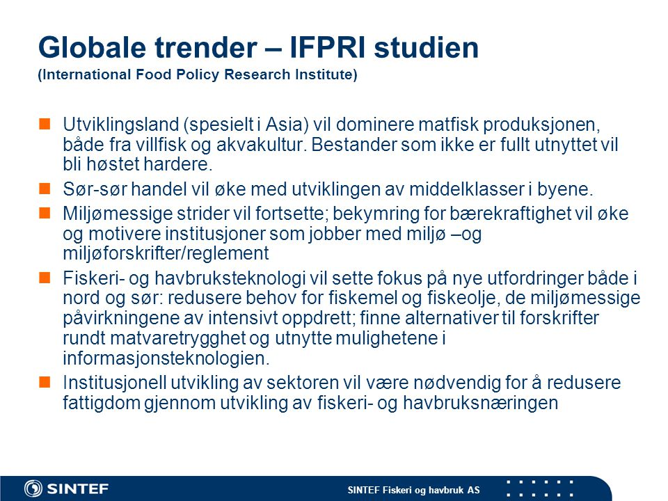 Globale trender – IFPRI studien (International Food Policy Research Institute)