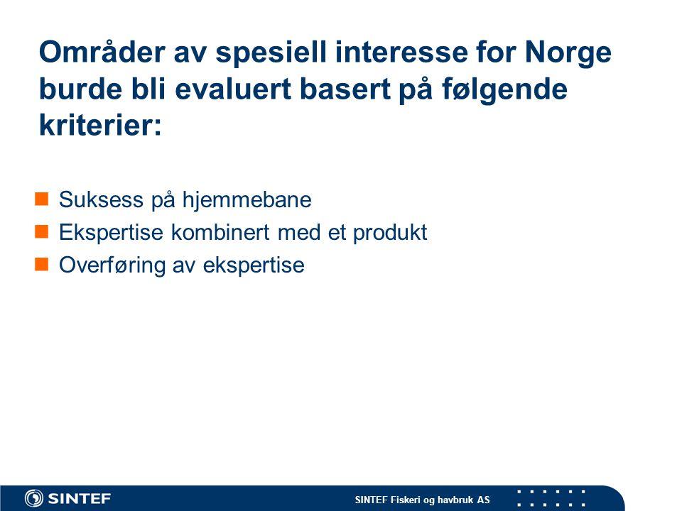 Områder av spesiell interesse for Norge burde bli evaluert basert på følgende kriterier: