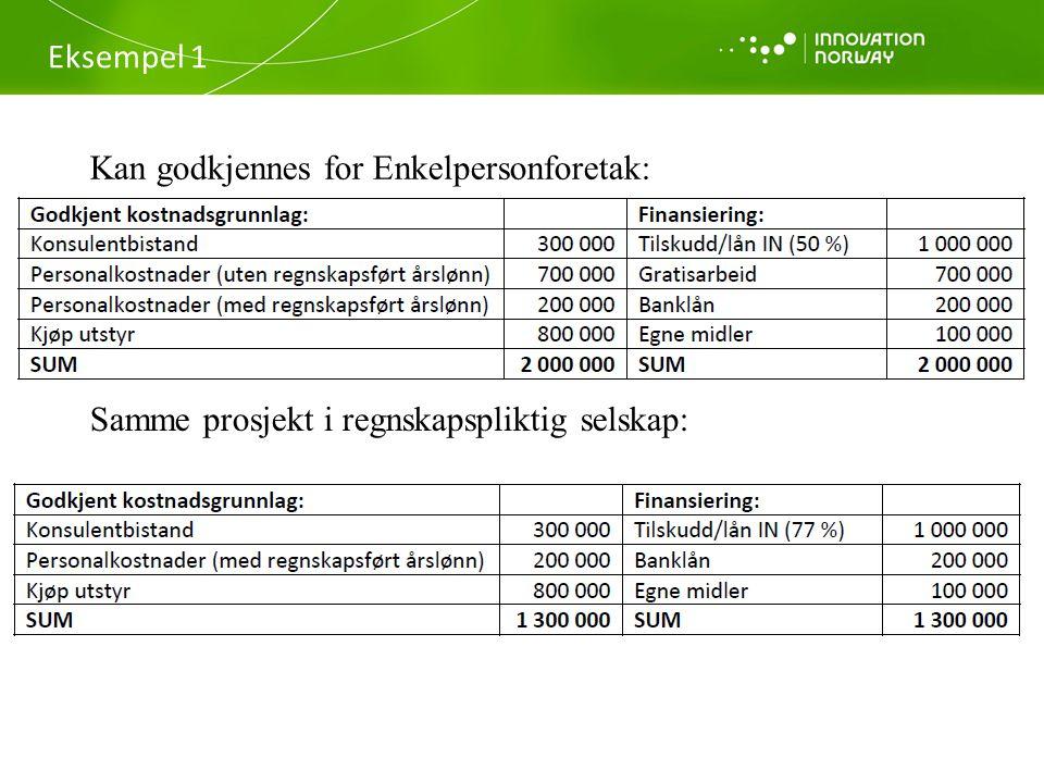 Eksempel 1 Kan godkjennes for Enkelpersonforetak: Samme prosjekt i regnskapspliktig selskap: