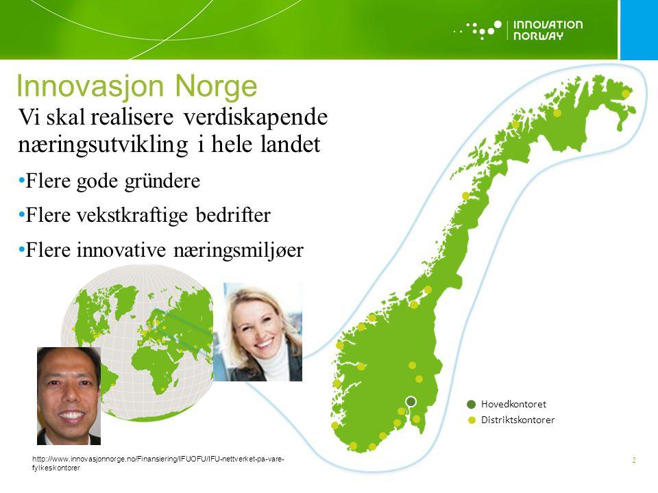 Innovasjon Norge Vi skal realisere verdiskapende næringsutvikling i hele landet. Flere gode gründere.