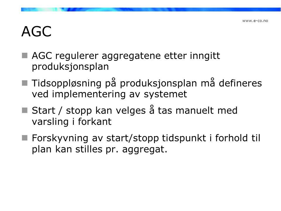 AGC AGC regulerer aggregatene etter inngitt produksjonsplan
