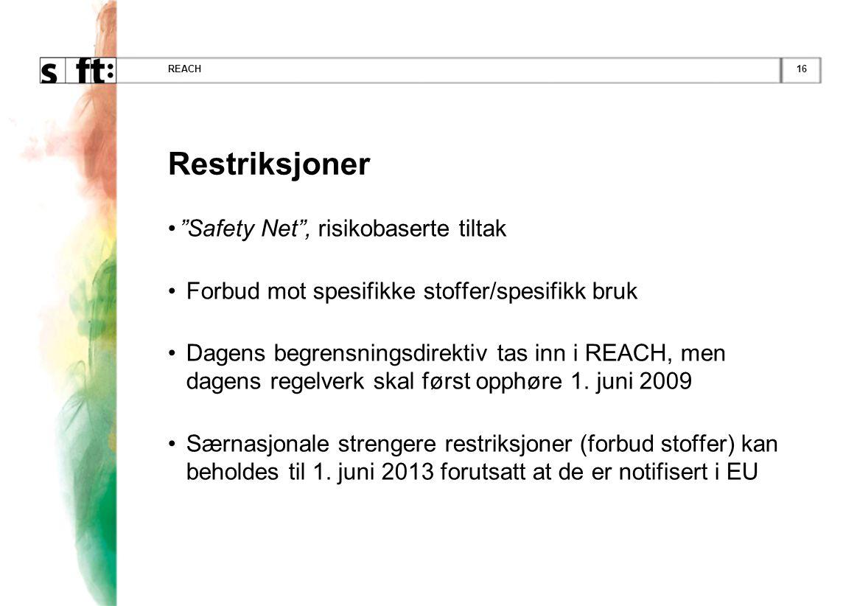 Restriksjoner Safety Net , risikobaserte tiltak