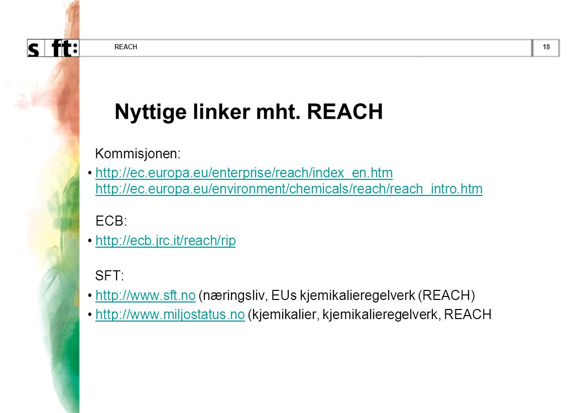 Nyttige linker mht. REACH