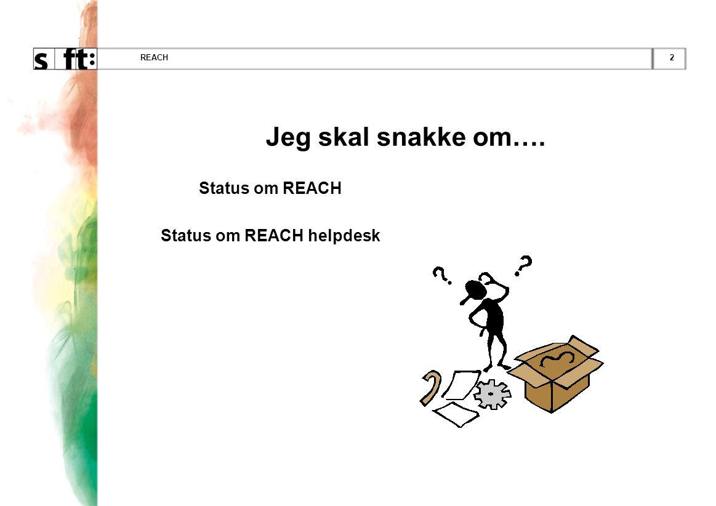 Status om REACH helpdesk