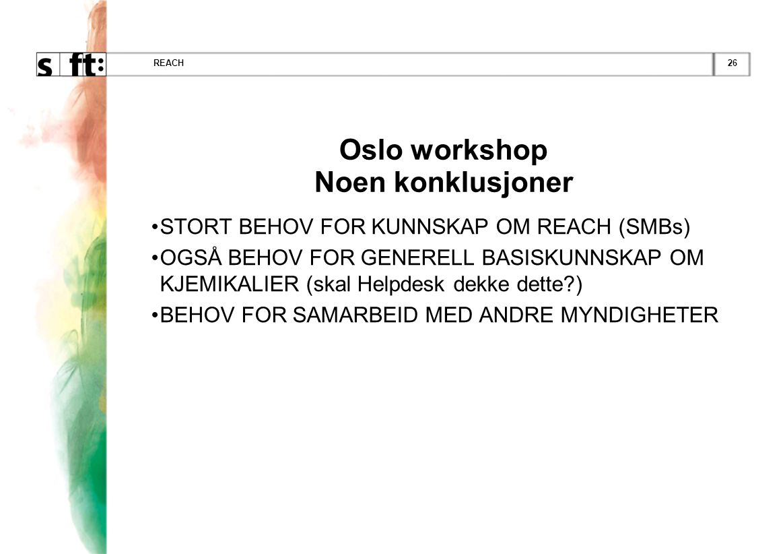 Oslo workshop Noen konklusjoner