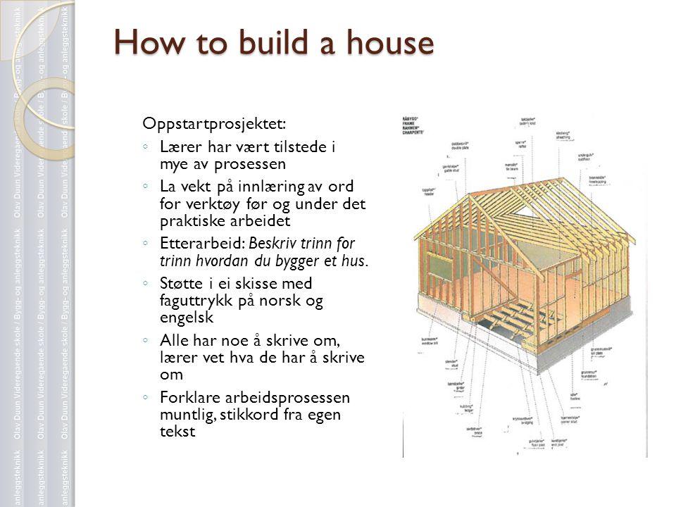 How to build a house Oppstartprosjektet: