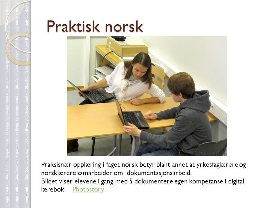 Praktisk norsk Praksisnær opplæring i faget norsk betyr blant annet at yrkesfaglærere og norsklærere samarbeider om dokumentasjonsarbeid.
