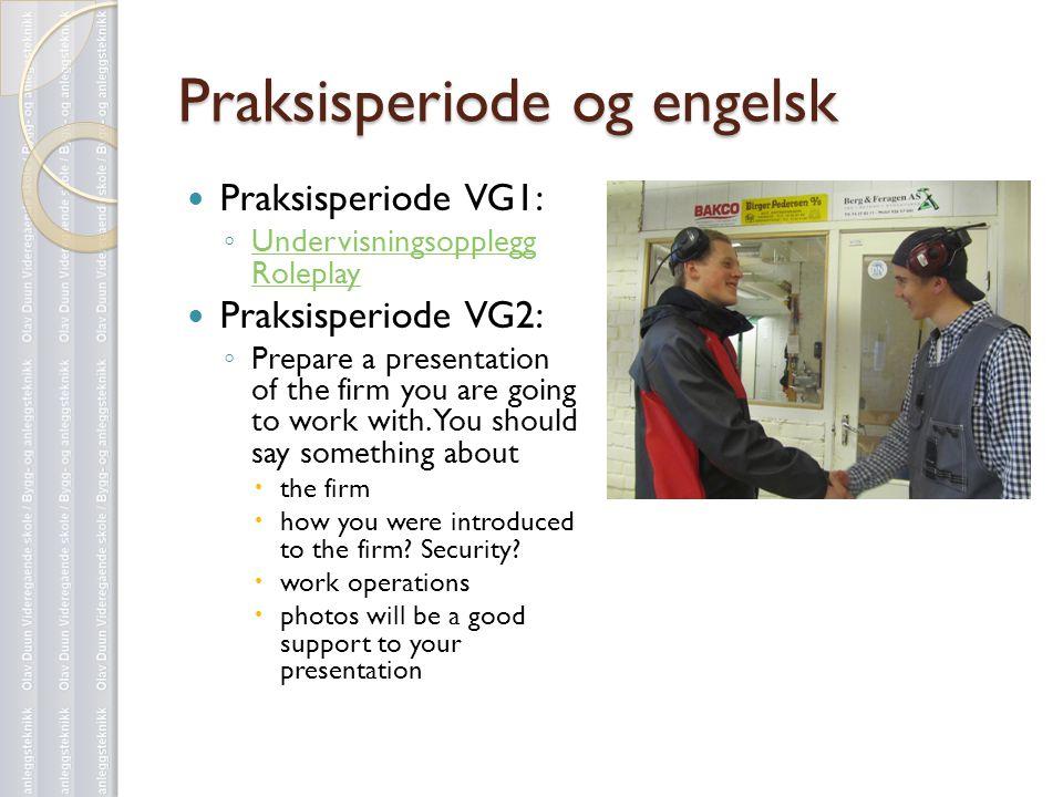 Praksisperiode og engelsk