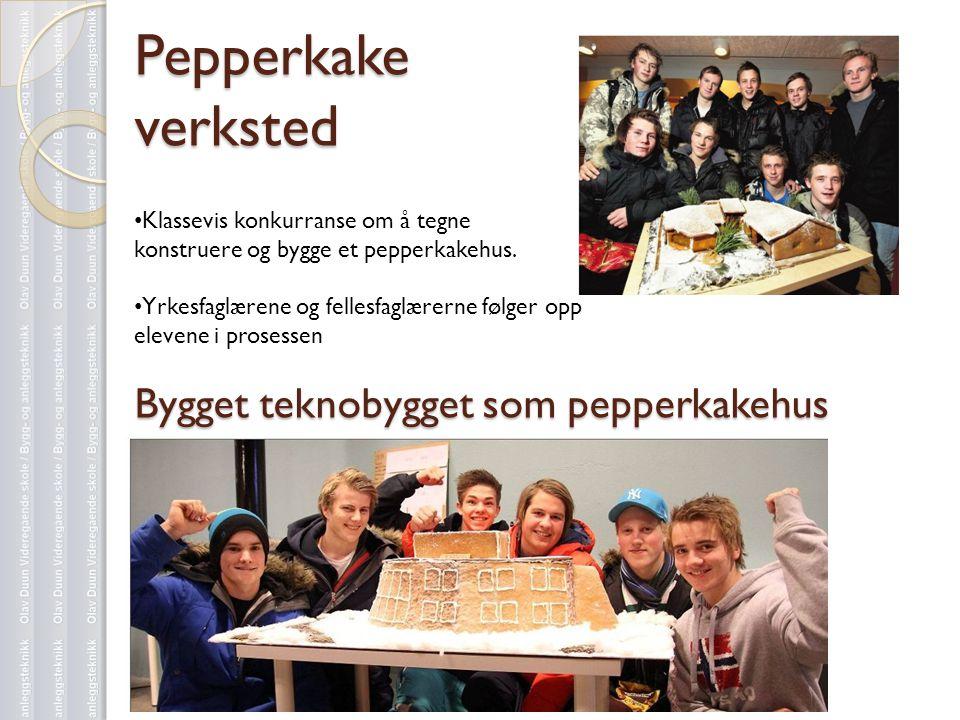 Pepperkake verksted Bygget teknobygget som pepperkakehus