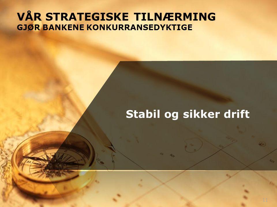 VÅR STRATEGISKE TILNÆRMING GJØR BANKENE KONKURRANSEDYKTIGE