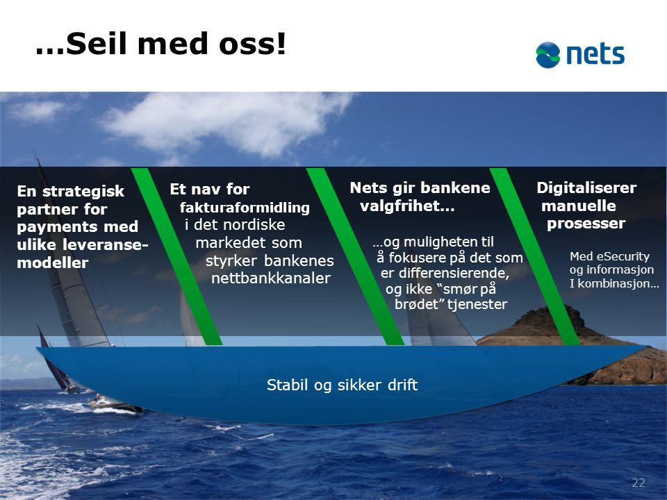 …Seil med oss! En strategisk partner for payments med ulike leveranse-modeller. Et nav for. fakturaformidling i det nordiske.