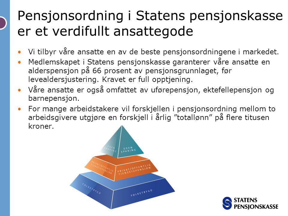 Pensjonsordning i Statens pensjonskasse er et verdifullt ansattegode