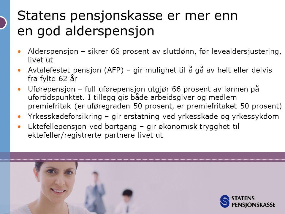 Statens pensjonskasse er mer enn en god alderspensjon