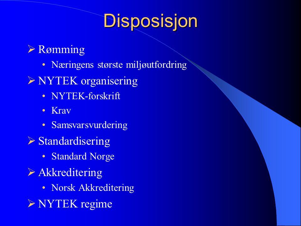 Disposisjon Rømming NYTEK organisering Standardisering Akkreditering