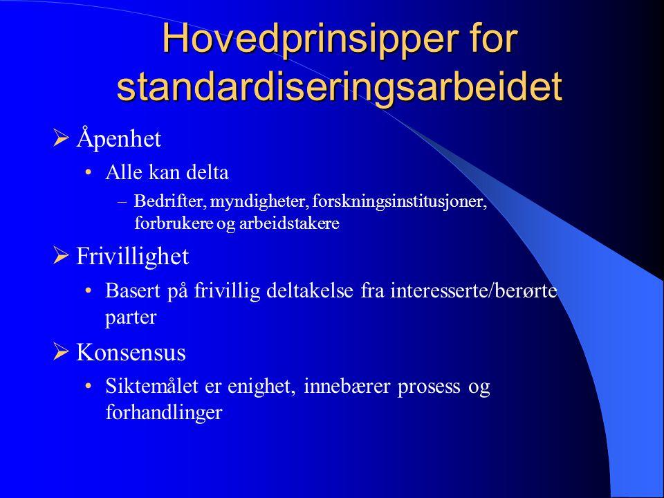 Hovedprinsipper for standardiseringsarbeidet