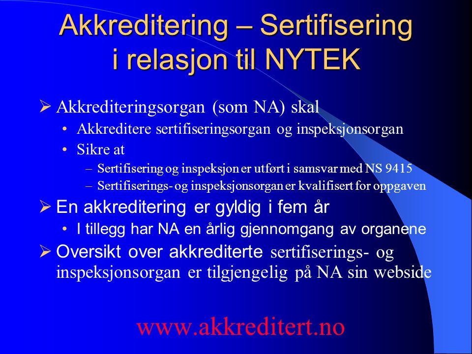 Akkreditering – Sertifisering i relasjon til NYTEK