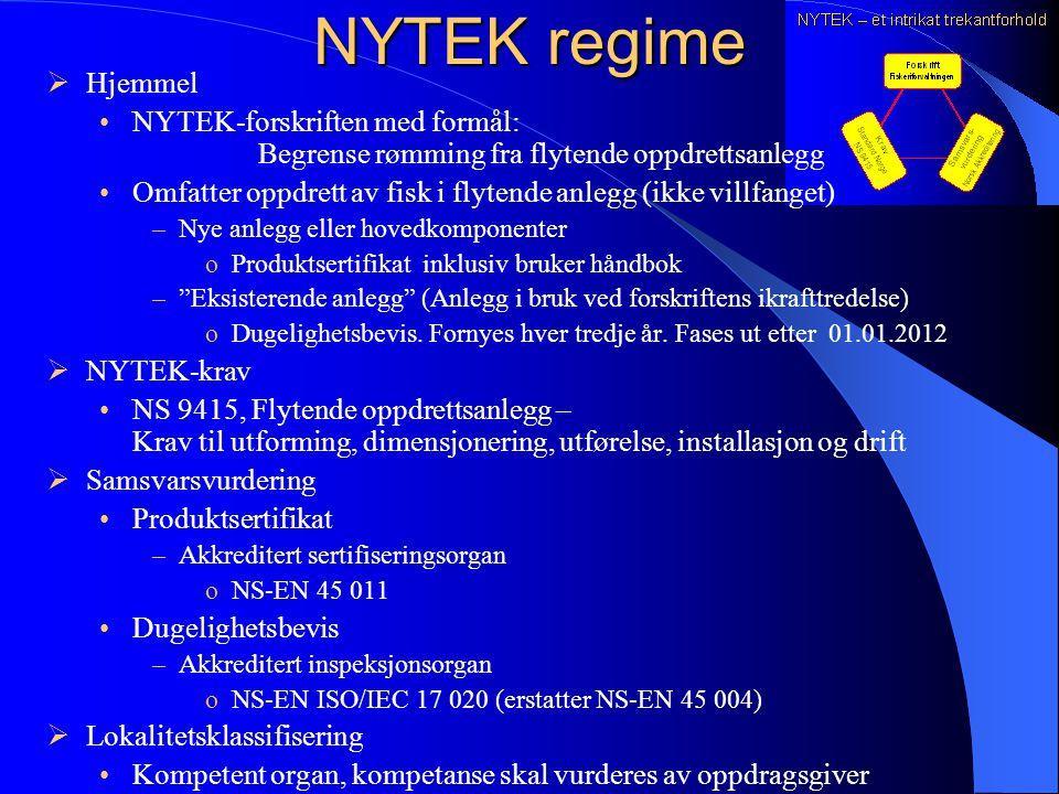 NYTEK regime Hjemmel. NYTEK-forskriften med formål: Begrense rømming fra flytende oppdrettsanlegg.