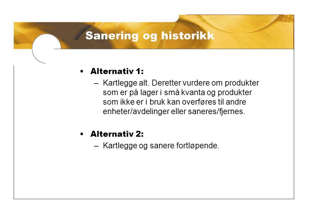 Sanering og historikk Sanering og historikk Alternativ 1:
