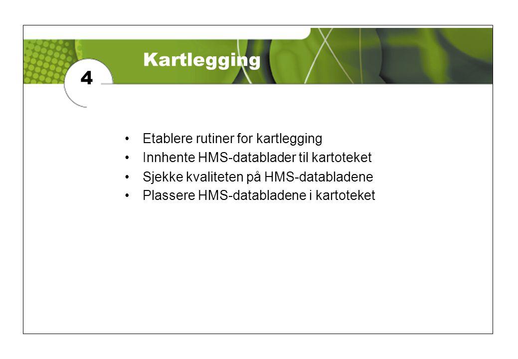 Kartlegging 4 Etablere rutiner for kartlegging
