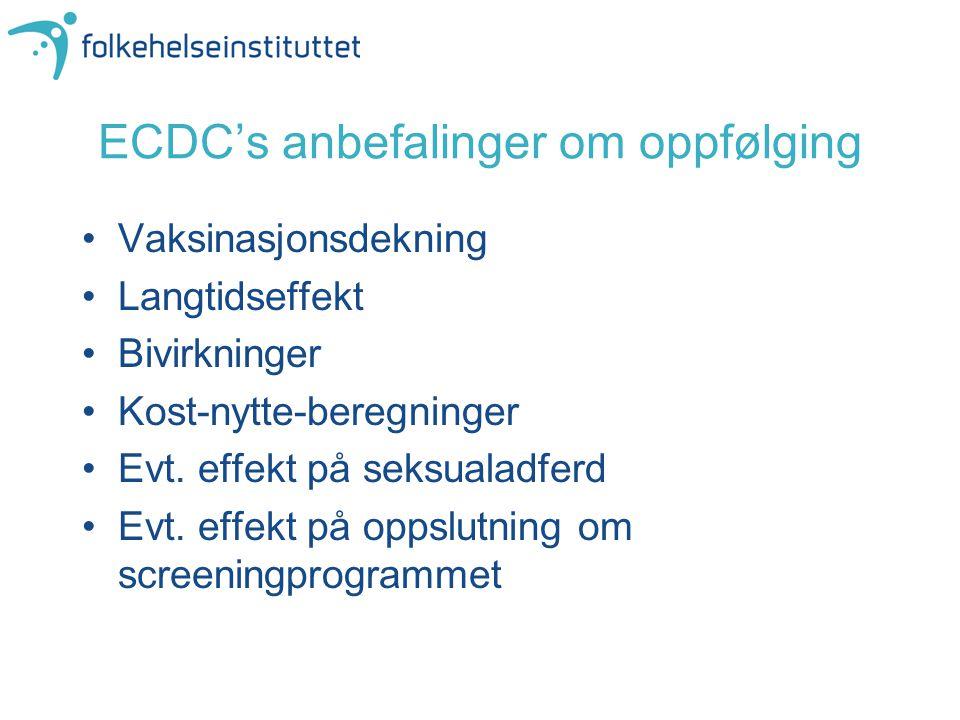 ECDC's anbefalinger om oppfølging