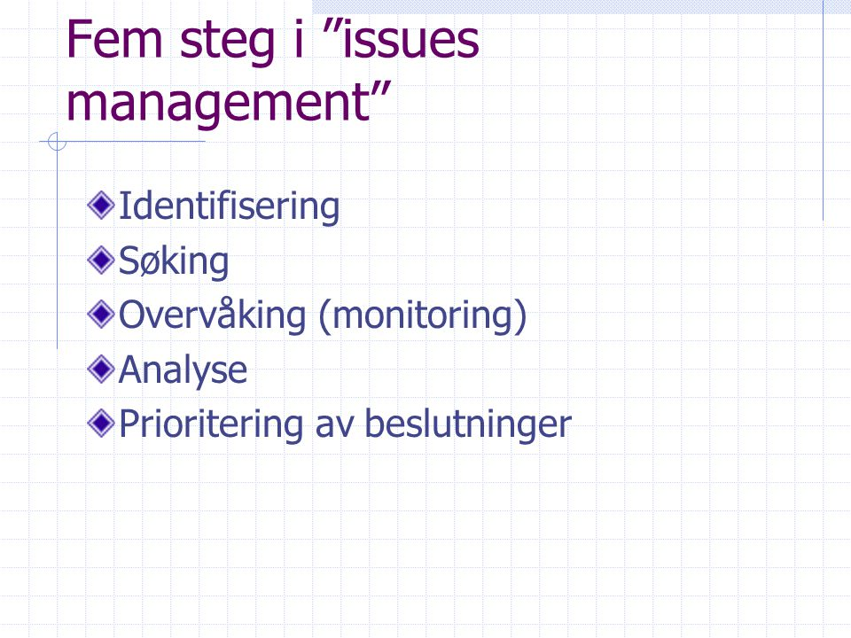 Fem steg i issues management