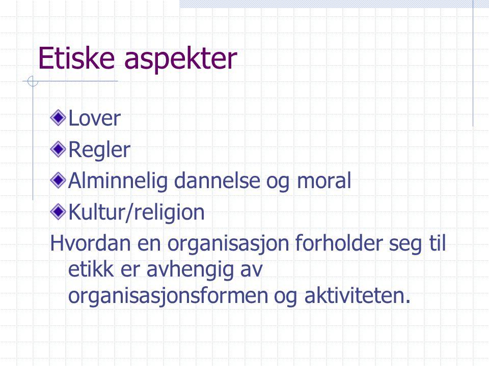 Etiske aspekter Lover Regler Alminnelig dannelse og moral