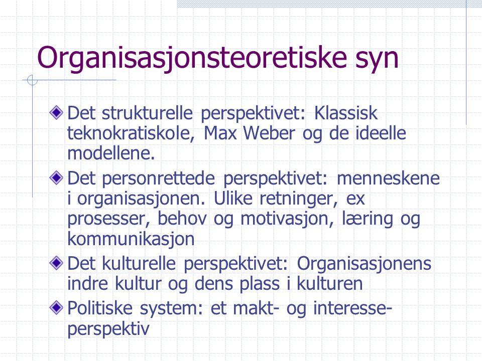 Organisasjonsteoretiske syn