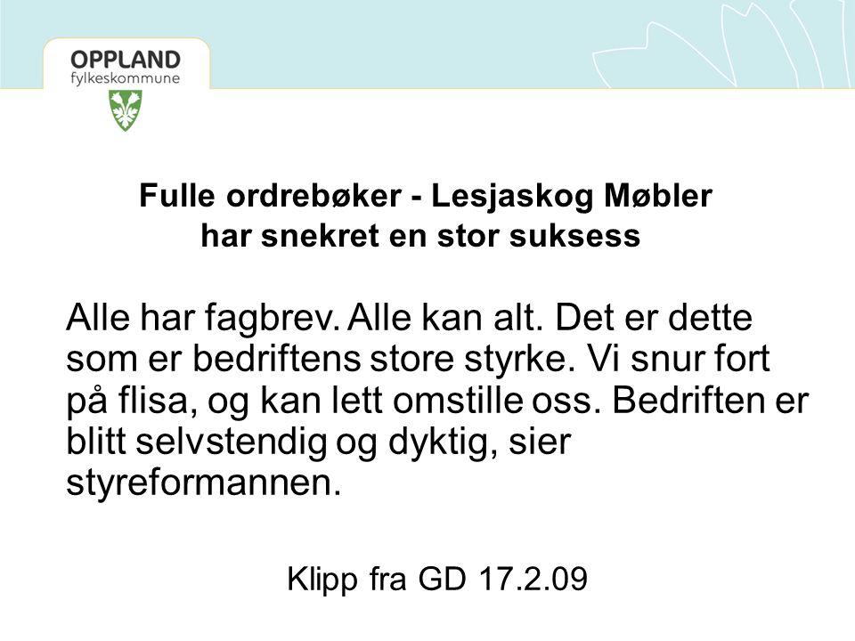 Fulle ordrebøker - Lesjaskog Møbler har snekret en stor suksess