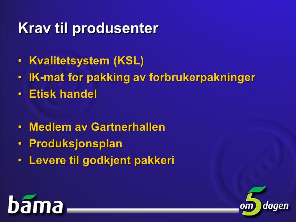 Krav til produsenter Kvalitetsystem (KSL)