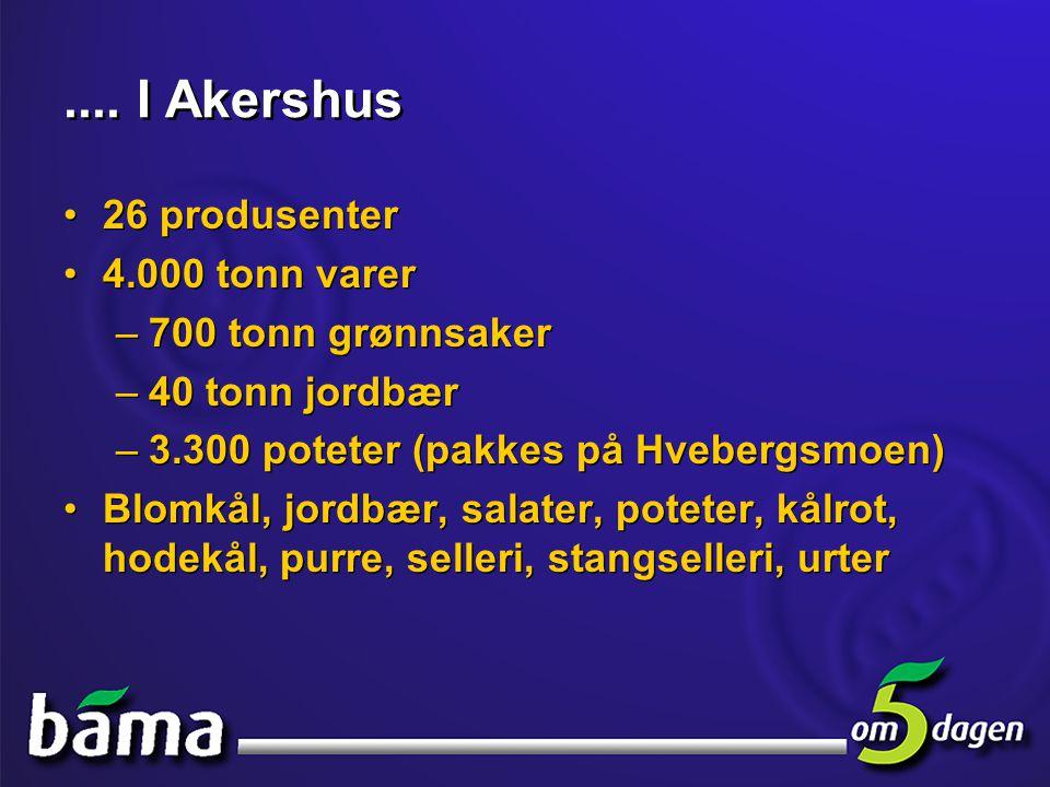 .... I Akershus 26 produsenter 4.000 tonn varer 700 tonn grønnsaker