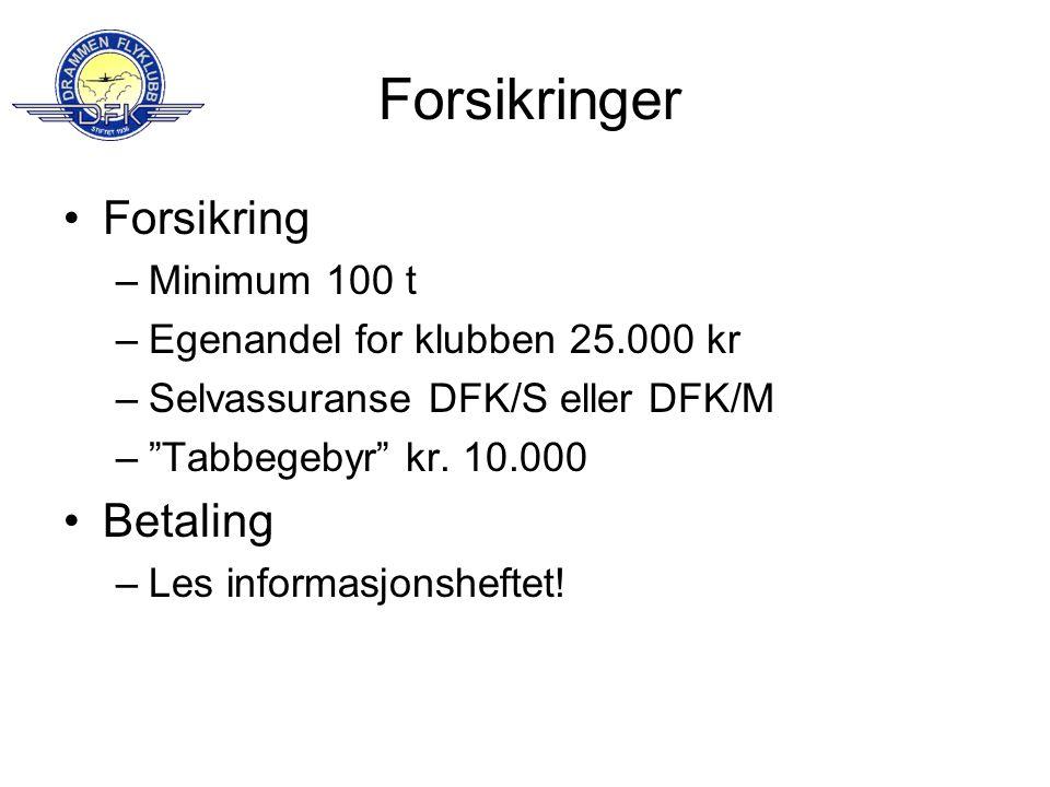 Forsikringer Forsikring Betaling Minimum 100 t
