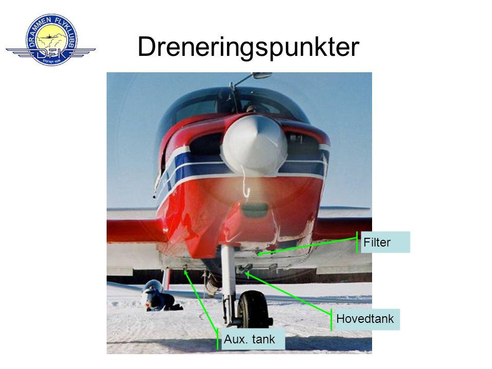 Dreneringspunkter Filter Hovedtank Aux. tank