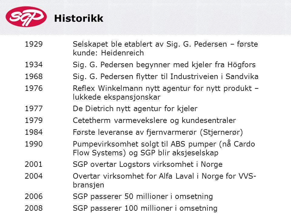 Historikk 1929. Selskapet ble etablert av Sig. G. Pedersen – første kunde: Heidenreich. 1934. Sig. G. Pedersen begynner med kjeler fra Högfors.