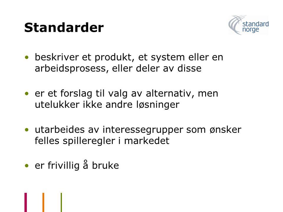 Standarder beskriver et produkt, et system eller en arbeidsprosess, eller deler av disse.