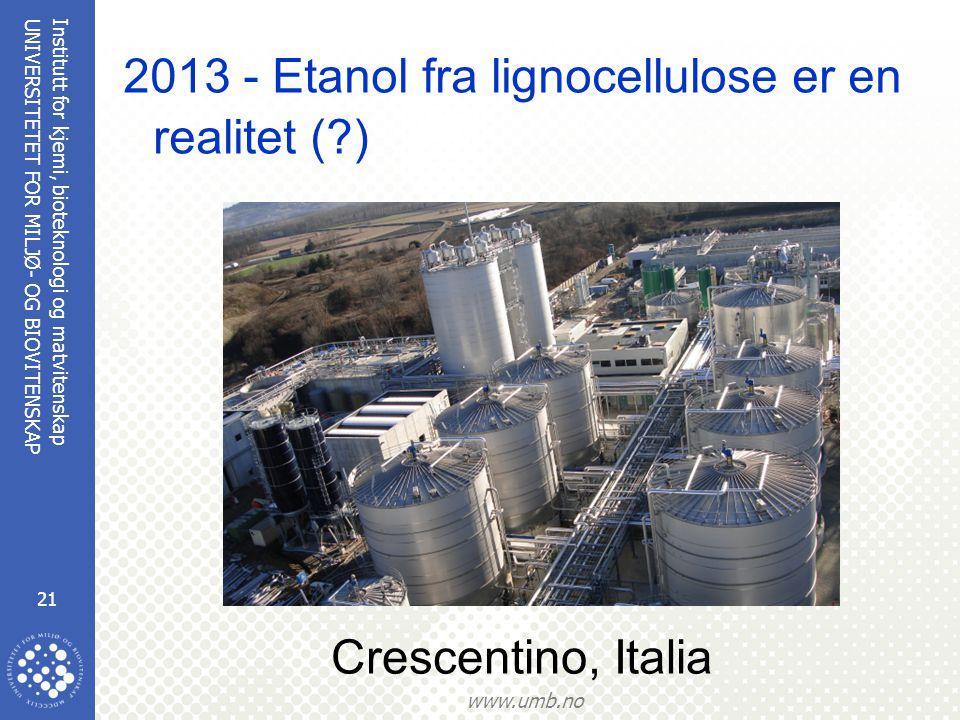 2013 - Etanol fra lignocellulose er en realitet ( )