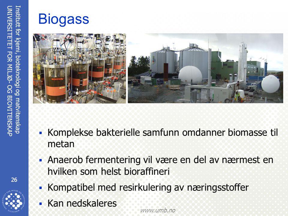Biogass Komplekse bakterielle samfunn omdanner biomasse til metan