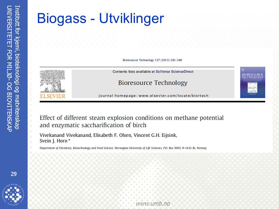 Biogass - Utviklinger